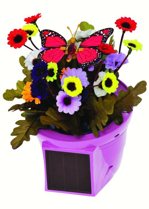Russco III Solar Pals Flapping Patio Pot (Pink Pot w/Red Butterfly)