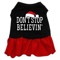 Don't Stop Believin' Dog Dress - Black with Red/XX Large