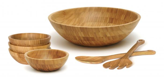 Lipper Bamboo Salad Bowls with Servers, 7-Piece Set