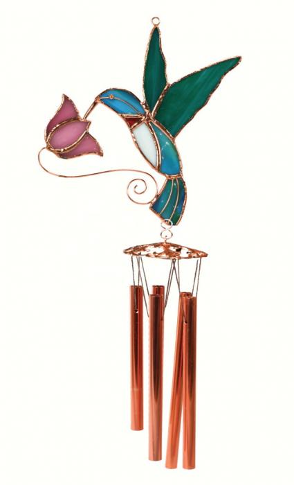Gift Essentials Hummingbird with Pink Flower Wind Chime