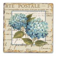 Counter Art Blue Hydrangea Single Tumbled Tile Coaster