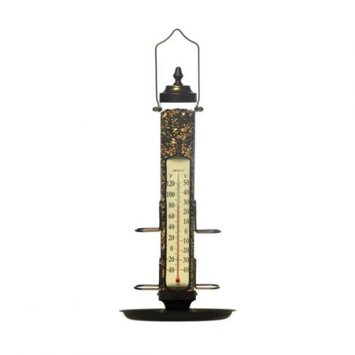 "Conant Custom Brass 21"" Tube Bird Feeder w/ Tray & Thermometer - Bronze Patina"