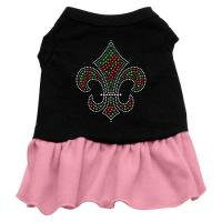 Christmas Fleur De Lis Rhinestone Dog Dress - Black with Pink/Large