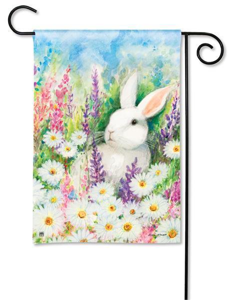 Magnet Works White Bunny Garden Flag