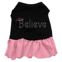 Believe Rhinestone Dog Dress - Black with Pink/XX Large