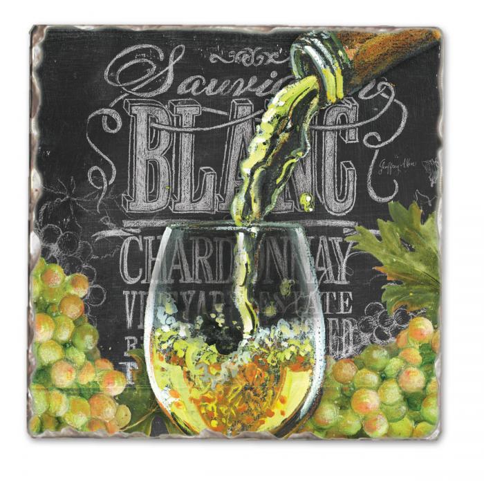 Counter Art Chalkboard Wine-Blanc Single Tumbled Tile Coaster