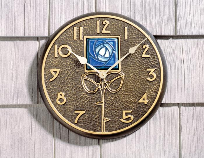 Whitehall Blue Dard Hunter Rose in French Bronze - Clock