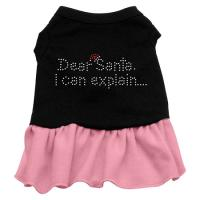 Dear Santa Rhinestone Dog Dress - Black with Pink/Medium