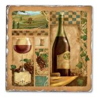 Counter Art Italian Wine Red Single Tumbled Tile Coaster
