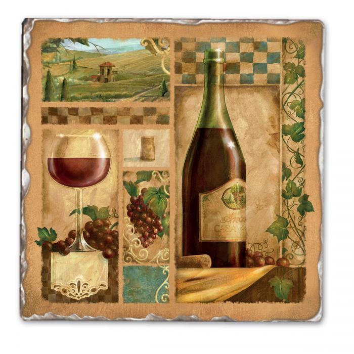 Counter Art Italian Wine Red Single Tumbled Tile Coaster