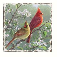 Counter Art Beautiful Songbirds Cardinals Trivet