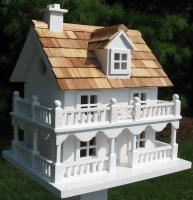 Home Bazaar Classic Series Novelty Cottage Birdhouse (White)