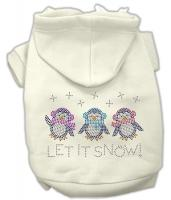 Let it Snow Penguins Rhinestone Dog Hoodie Cream/Small