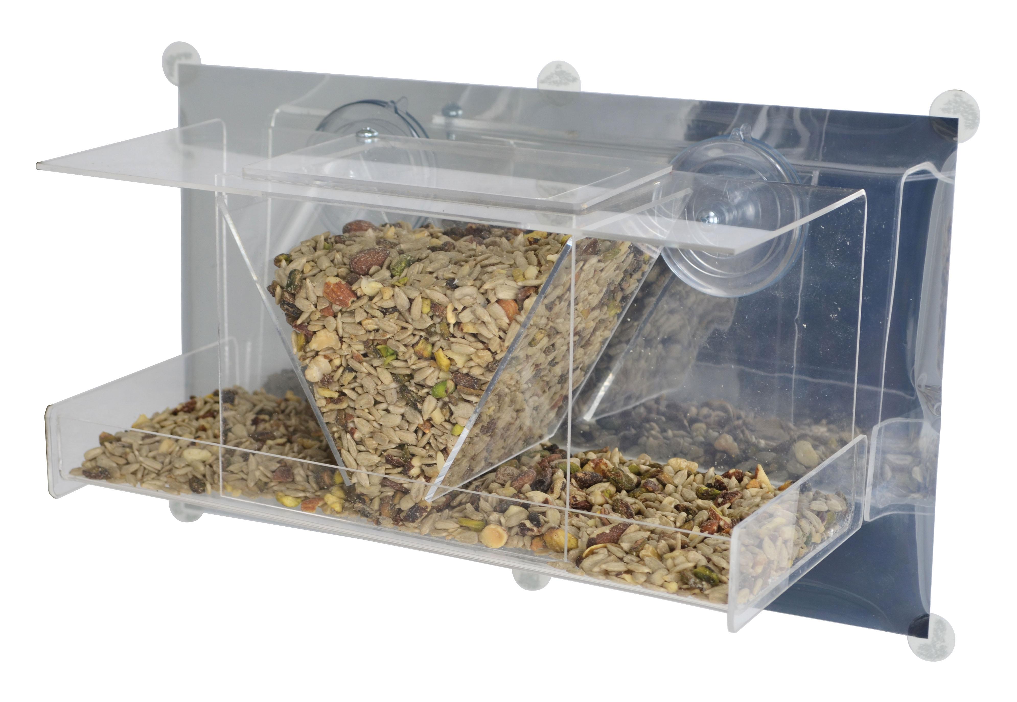 Mirror window bird feeder - Songbird Essentials Clear View Deluxe Hopper Mirrored Window Bird Feeder