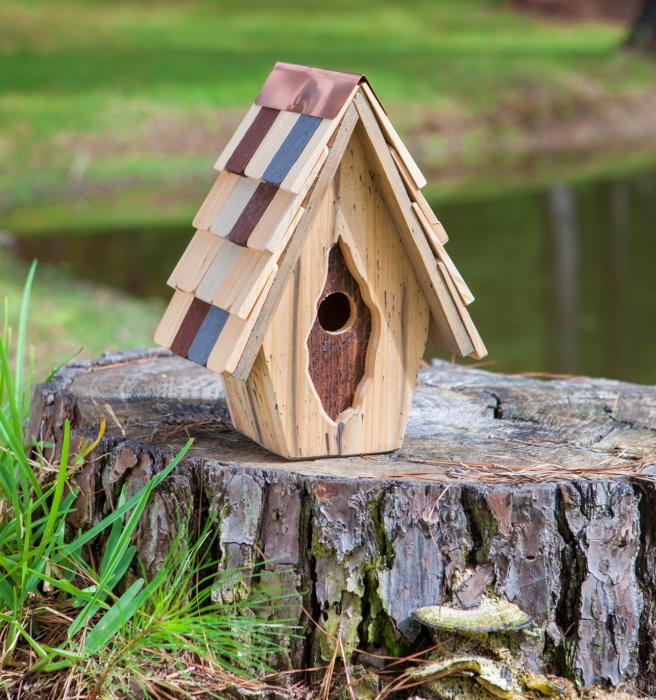 Heartwood Vintage Wren, Antique Cypress with Multi-Colored Shingled Roof - Natural