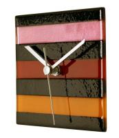 Square Multi-Color Glass Wall Clock - Warm Colors