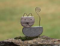 Ancient Graffiti Cat Natural River Stone