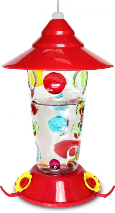 Pinebush Handpainted Dots Glass Hummingbird Bird Feeder