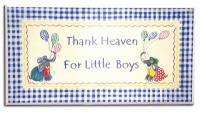 Room Plaque With Ribbon- Thank Heaven For Little Boys