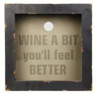 Evergreen Enterprises Wood and Glass Wine Cork Holder, 12 x 12 x 4