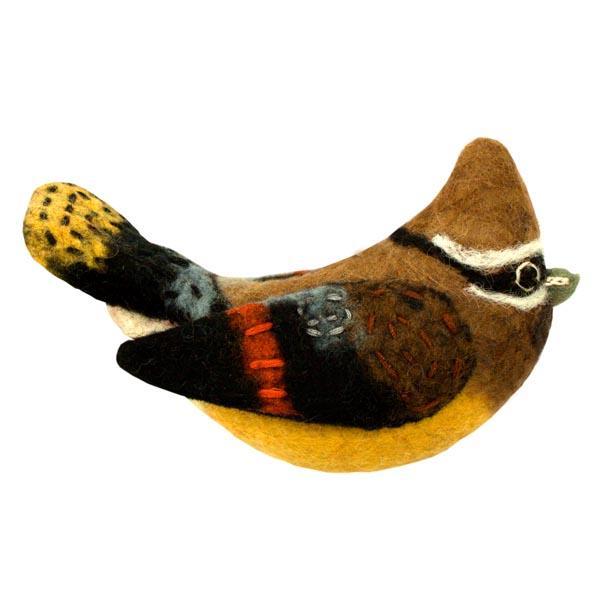 DZI Handmade Designs Cedar Waxwing Woolie Ornament