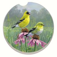 Counter Art Beautiful Songbirds Goldfinches Car Coaster