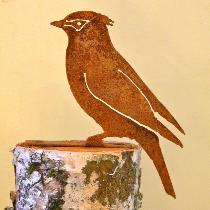 Elegant Garden Design Cedar Waxwing Bird Silhouette