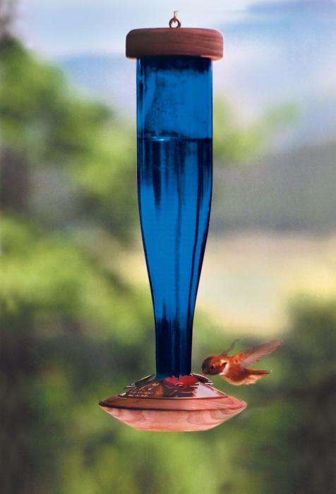 Schrodt Cobalt Blue Lantern Hummingbird Bird Feeder