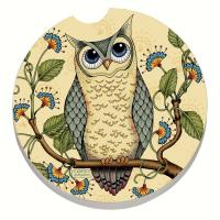 Counter Art Wise Owl Car Coaster