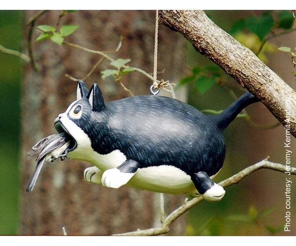 Bobbo Cat Open Mouth Black/White Birdhouse
