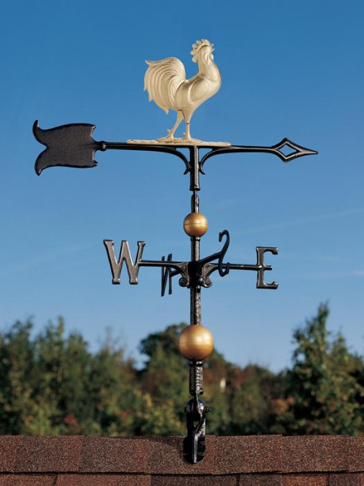 "30"" Full-Bodied Rooster Weathervane - Gold-Bronze"
