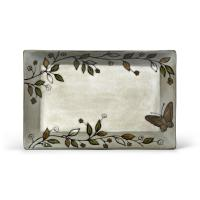 Pfaltzgraff Rustic Leaves Rectangular Platter w/ Butterfly