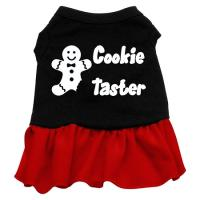 Cookie Taster Dog Dress - Black with Red/XXX Large