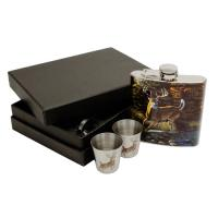 Rivers Edge Products Deer Flask With Shot Glasses
