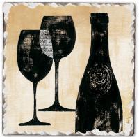 Counter Art Wine Shadows Single Tumbled Tile Coaster