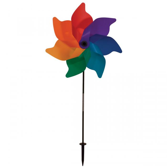 "In The Breeze 18"" Rainbow Poly Petal Pinwheel Spinner"