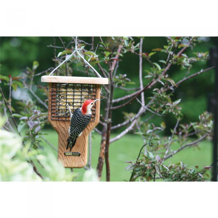 Bird's Choice Single Cake Tail Prop Suet Feeder - Brown Roof