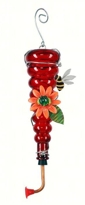 Sunset Vista Designs Whispering Wings Bees Hummingbird Feeder - Red Bottle