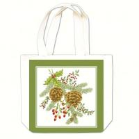 Alice's Cottage Holiday Pinecones Gift Tote