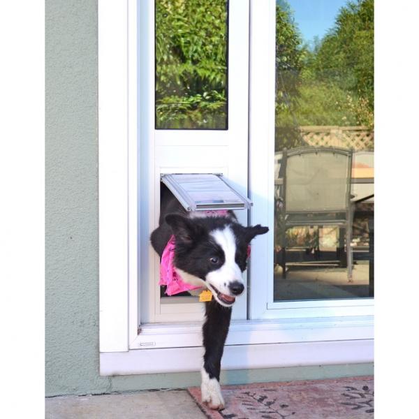 "Endura Flap Pet Door, Thermo Panel 3e, Small Flap, 6""w x 11""h - 93.25-96.25"" Tall, White frame"
