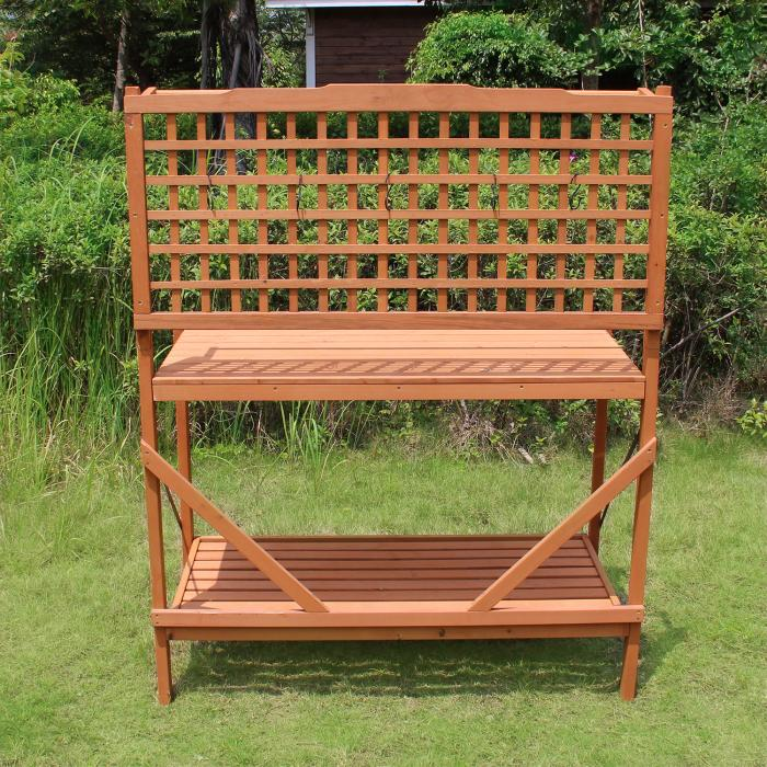 Merry Products Wood Folding Garden Potting Bench