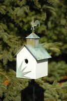 Sleepy Hollow - Hen House Bird House - White with Verdi Copper Roof